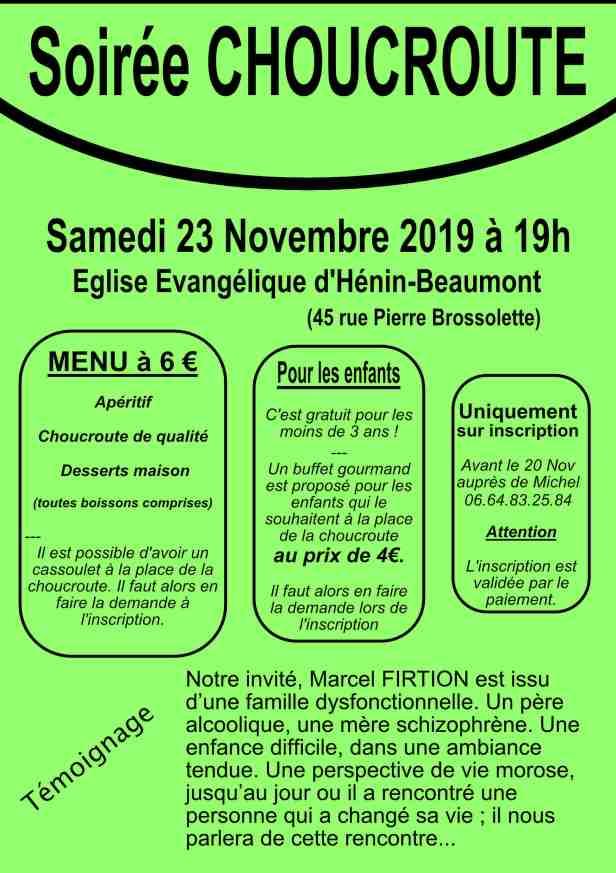 HENIN Soirée choucroute 23 Nov 2019 site